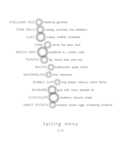 Alinea's tasting menu