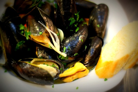 Mussels in cream sauce with wine  and cognac