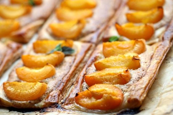 Mini tarts with almond frangipane and apricots