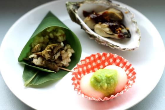 Ryż z ostrygami (w liściu bananowca), ostrygi tsukade