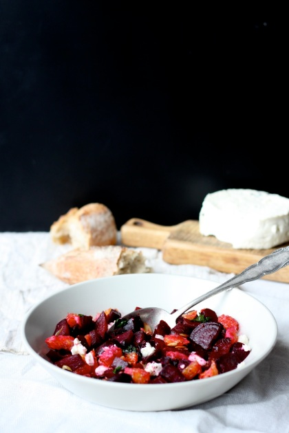 Roasted beets, orange and goat cheese salad