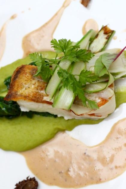 Confit z sandacza z zielonym groszkiem i lubczykiem, szparagi i smardze  Confit z sandacza z zielonym groszkiem i lubczykiem, szparagami i smardzami