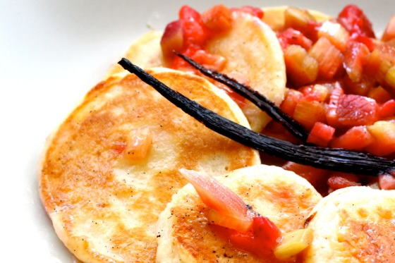 Pancakes with easy rhubarb, strawberry and olive oil jam