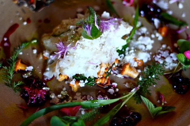 Wolno pieczony dorsz na kaszy jaglanej z kurkami i tarkowany kalafiorem - Paweł Oszczyk