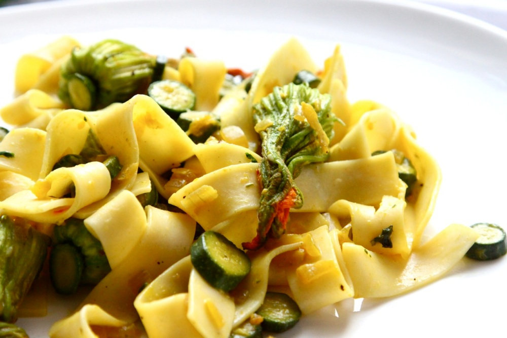 Pappardelle witch zucchini blossom