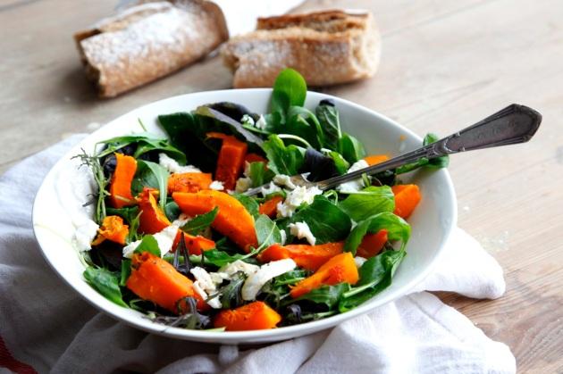 Roasted squash and mozzarella salad