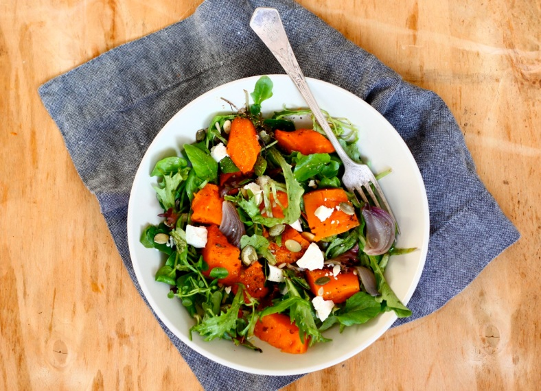 Roasted winter vegetables and goat cheese salad