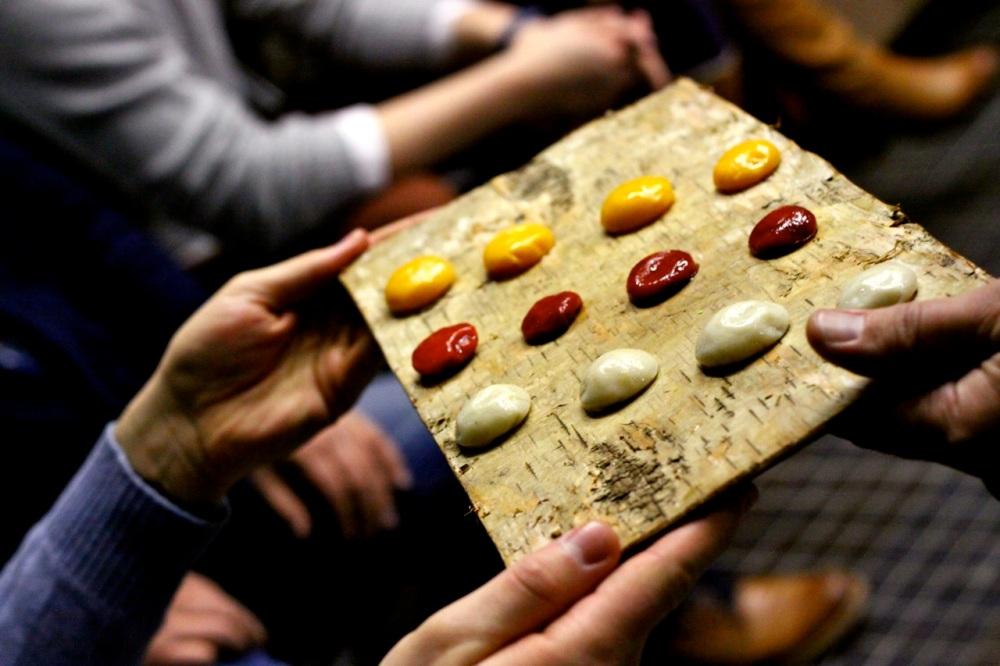 Pierożki / sfery z warzyw: buraka, topinamburu i dyni