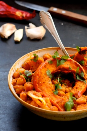 squash and chickpea red curry