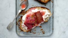 ricotta roasted rhubarb toast